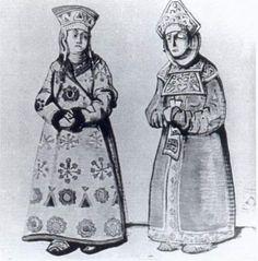 """Sketch of costumes by Nicholas Roerich, 1920, for Nikolai Rimsky-Korsakov's """"Snow Maiden"""""""