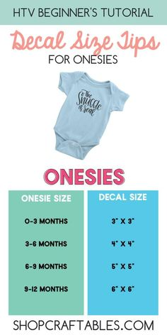 Beginner's Tutorial: Decal Size Tips for T-Shirts, Totes and Onesies - Cricut Maker - These sizes are a great starting point. All brand sizes are different so it's always best to meas - How To Use Cricut, Cricut Help, Cricut Air, Cheap Heat Transfer Vinyl, Shilouette Cameo, Do It Yourself Baby, Cricut Craft Room, Cricut Tutorials, Cricut Ideas