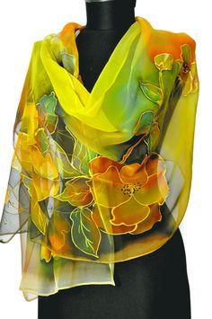 Yellow flowers Hand painted silkscarf Silk chiffon Šály 673f7278e9