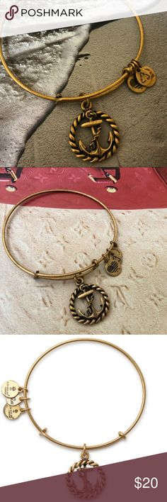 Alex and Ani Anchor Bangle Gold tone expandable wire bangle with anchor charm. NWOT Alex and Ani Jewelry Bracelets