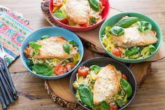 Chicken Paillards & Fresh Linguine with Summer Squash & Cherry Tomatoes. Visit https://www.blueapron.com/ to receive the ingredients.