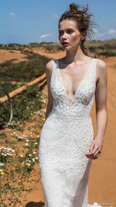 limor rosen 2018 bridal sleeveless deep v neckline full embellishment elegant sheath wedding dress open v back chapel train (cameron) zv