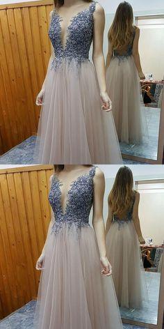 prom Dresses,Stylish A-line Prom Dress - Deep V-neck Floor-Length Beading Backless