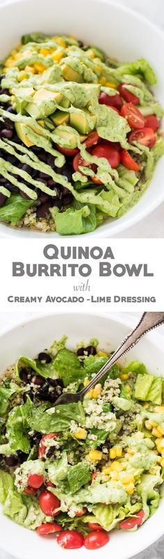Super delicious and filling Quinoa Burrito Bowl with creamy Avocado-Lime Dressing
