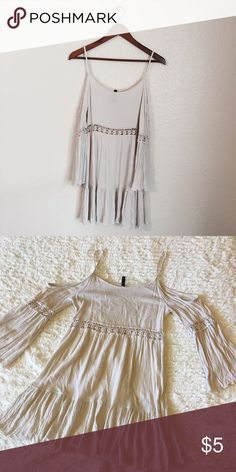 📢📢LAST CALL• Boho Bell Sleeve Dress Will be donating or Selling at garage sale• Beige Mini Dress• Some Wear and Tear but Still  good Condition• Fixable and Unnoticeable• Hand Wash and Hang Dry•l Dresses Mini