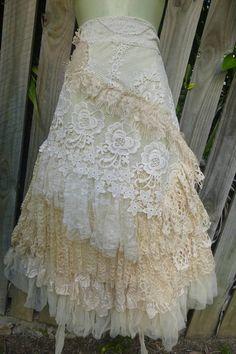 wedding skirt,tattered skirt, stevie nicks, bohemian skirt, boho skirt, gypsy skirt, lagenlook skirt,OAK, shabby wrap skirt.. she,s a gorgeous flirty bohemian wrap around shabby skirt in ivory hues kissed with assorted laces,bridal laces,netting,rose trims,crochet,bridal decals and shabby