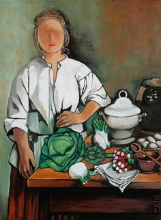 """""""VEGETABLE LADY"""" - William Cain; Oil Painting,  The woman of the house prepares for dinner. Part of artist's Village Life Series.//there is just something about this painting that I love. The anonymous face perhaps?"""