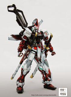 MG Gundam Astray Red Frame - Customized Build Modeled by Gundam Studio Astray Red Frame, Gundam Astray, Custom Gundam, Gundam Model, Superhero, Guys, Studio, Robots, Sword
