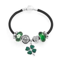 8eef552dc Amazon.com: Bling Jewelry 925 Silver Green Clover Irish Celtic Charm Bead  Bracelet: Jewelry