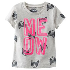 This top is purrrrfect for your cat-loving girl. w/ pink shorts Girls Tees, Shirts For Girls, Toddler Outfits, Girl Outfits, Baby Kids Wear, Baby Boy, Girl Inspiration, Fashion Inspiration, Little Fashionista