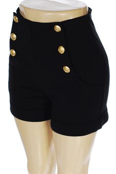 Cute high waisted shorts w/ gold buttons! Also available in blue ...