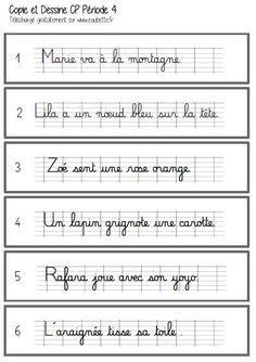 Copie et dessine période 4 - CP French Cursive, Montessori, French Education, French Language, Sheet Music, Teaching, School, Phrases, Matilda