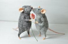 Little Rats in Love -  needle felted ornament animal, felting dreams.  via Etsy.