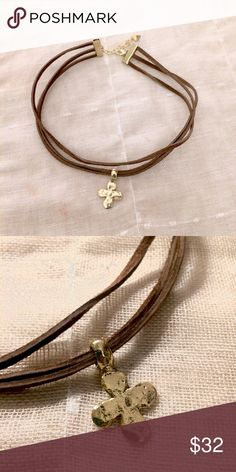 """3-Strand Genuine Suede/Leather Choker This new leather choker features three strands of flat premium leather at 12"""" in length with 3"""" raw brass claw extender, heart & lobster clasp. At the center is a 29 mmx18 mm,(1+1/8 X 3/4, hammered GOLD pewter, metal cross charm with rounded corners and a thick bail. 2 sided. Back looks the same as front. This choker lends itself to today's trendy bohemian style as as well as an old world look. The bail on the top has a 4mm inside diameter. Gorgeous…"""