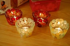 button votive candle holders