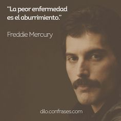 La peor enfermedad es el aburrimiento - Freddie Mercury  #frases #frase #quote #quotes #music #enfermedad #aburrimiento Music Quotes, Me Quotes, Funny Quotes, Mr Wonderful, Save The Queen, Interesting Quotes, Sabrina Carpenter, Positive Affirmations, Love Of My Life