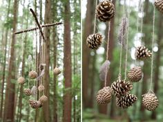 Fir cone and feather hanging decorations for outdoors