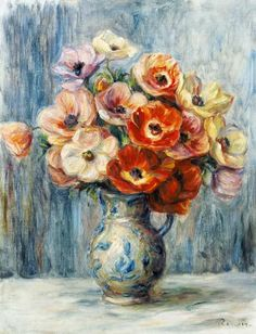 "Trademark Art ""Vase d'Anemones"" by Pierre-Auguste Renoir Matted Framed Painting Print Size: H x W x D, Frame Color: Brown Pierre Auguste Renoir, Oil Painting Flowers, Painting Frames, Painting Prints, Art Prints, Renoir Paintings, Buy Paintings, Art Pierre, Canvas Wall Art"