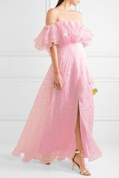 Pink and gold fil coupé silk-blend organza Concealed hook and zip fastening at back 98% silk, 2% metallicized polyester; lining: 100% silk Dry clean Designer color: Royal Pink Made in the UK