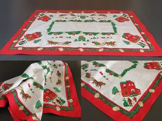 Vintage Christmas Table Runner - Christmas Table Decor - Christmas Runner Tablecloth - Printed Table Centrepiece Doily - Noel Dresser Scarf by EightMileVintage on Etsy