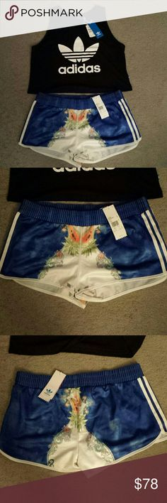 Adidas Farm Blue Indigo Shorts & Crop Top SET Adidas rare Farm Indigo Shorts and Black Trefoil Crop Top SET. Shorts is rare and limited edition and only was available at selected locations, 100% polyester. Iconic trefoil black crop top matches anything, 100% cotton. Both size large. Brand new with tags. Price negotiable adidas Tops Crop Tops