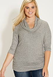 plus size heathered cowl neck pullover with 3/4 length sleeves - maurices.com