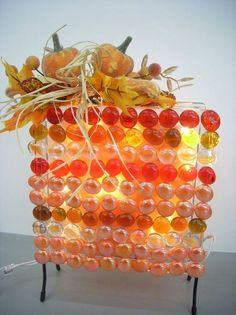 Set the room aglow with this beautiful candy corn inspired glass block light perfect for the autumn holidays.