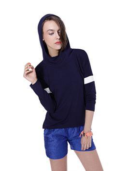 Kamila Gronner z kapturem Sports Luxe, Hoods, Spring Summer, Turtle Neck, Sporty, Lifestyle, Clothes For Women, Dark Blue, Model