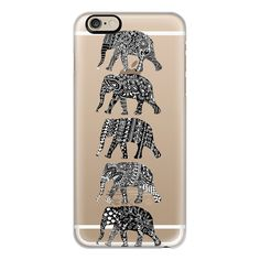 iPhone 6 Plus/6/5/5s/5c Case - Patterned Elephants(whiteonblack) ($40) ❤ liked on Polyvore