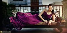 Plum greek goddess gown in chiffon and power mesh by Tammy Tan.