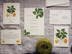 This wedding collection is detailed with a vintage lemon plant botanical print. Can be purchased two ways: I will print them for you, or Ill