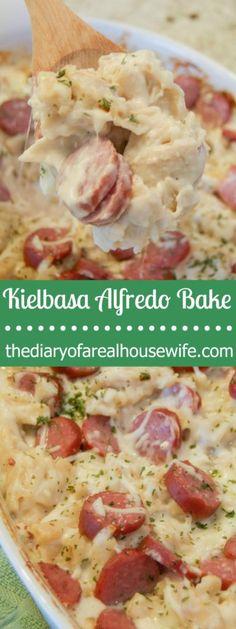 simple-kielbasa-alfredo-bake-easy-dinner-idea-that-the-entire-family-will-love - Kolay yemek Tarifleri Pork Recipes, Pasta Recipes, Cooking Recipes, Healthy Recipes, Recipes With Kielbasa, Kielbasa Crockpot, Cooking Corn, Pasta Meals, Healthy Meals