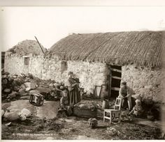 A family evicted in Donegal during the Famine in 1848. This was to be continued during the Rent evictions in the 1880s.  Irish National Photographic Archives