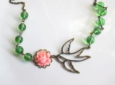 Nature Woodlands Inspired Green glass beads, Pink Rose and Swallow Flying Bird Necklace. Sweet Romantic. Bridal Bridesmaid Gift