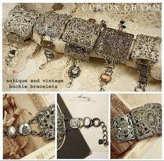 vintage buckles made into bracelet