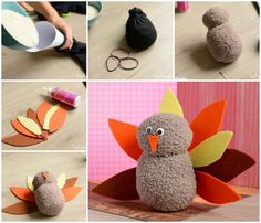 No-Sew Sock Turkey Craft - Easy Peasy and Fun Thanksgiving Crafts For Kids, Fall Crafts, Halloween Crafts, Holiday Crafts, Holiday Ideas, School Holiday Party, School Parties, Crafts For Seniors, Senior Crafts
