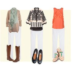 White jeans multiple ways.  Anything you can wear with dark jeans, you can wear with white jeans.
