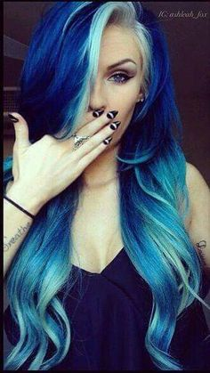 Are you looking for dark blue hair color for ombre and teal? See our collection full of dark blue hair color for ombre and teal and get inspired! Dye My Hair, New Hair, Love Hair, Gorgeous Hair, Coloured Hair, Cool Hair Color, Hair Color Blue, Amazing Hair Color, Edgy Hair Colors