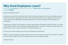 """Why Good Employees leave company? Reason is their Managers. """"People leave Managers not companies"""", David Richard"""