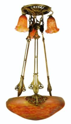 Hanging Lamp; Art Nouveau, Majorelle (Louis) & Daum Freres, Marbled Orange-Yellow Bowl & 3 Tulip Shades, 47 inch.
