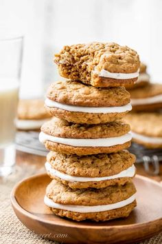 Oatmeal Cream Pies - soft, chewy oatmeal cookies with hints of cinnamon, molasses and coconut, with a sweet marshmallow cream filling. www.savingdessert.com