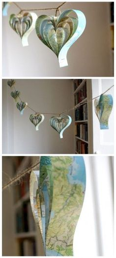 ideas for using maps. love the hearts.