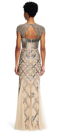 Adrianna Papell   Cap Sleeve Beaded Gown with Envelope Back