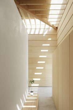 Pine paneled walls and ceiling with slatted skylights to let in natural light. Light Walls House by mA-style architects.