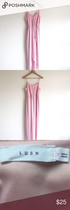 """LUSH - tulip hem maxi dress wrap look front forms the bodice & tulip hem. perfect for summer dates or weddings. sheer fabric & cinched waist forms a flattering, ultrafemme look. adjustable straps. purchase at nordstrom. worn once. see measurements below.  📸 pics taken by me 💸 bundle 2+ items for 10% off  ⚡️fast shipper  ⭐️top rated seller 🖤other items listed  chest - 35"""" waist - 26"""" (w/o stretching)  length - 44"""" center front / 59"""" back Lush Dresses Maxi"""