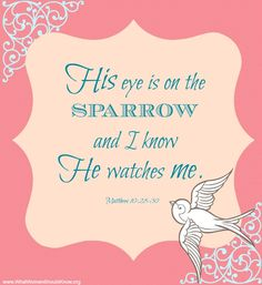 """His eye is on the sparrow..."" Matthew 10:28-30"