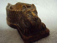 Vintage Syroco Wood Pipe Rest Holder Scottie Dog 25