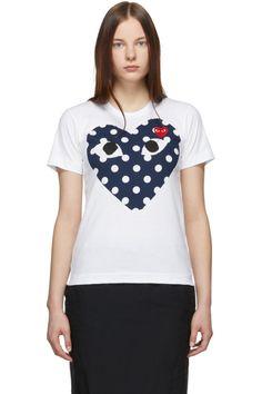 45fe1e9997 Comme des Garçons Play - White Polka Dot Big Heart T-Shirt Junya Watanabe,