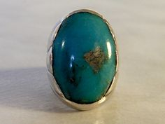 Vintage Navajo Sterling Silver & Natural Blue Turquoise Ring    C.1930   Bell Sterling Co.    Size 7   15.3 Grams by GemstoneCowboy on Etsy