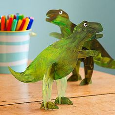 DIY Make your own stand-up dinosaur toys!